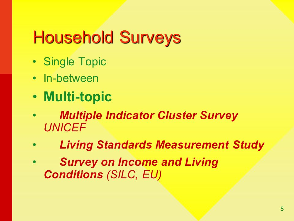 Household Surveys Multi-topic Single Topic In-between