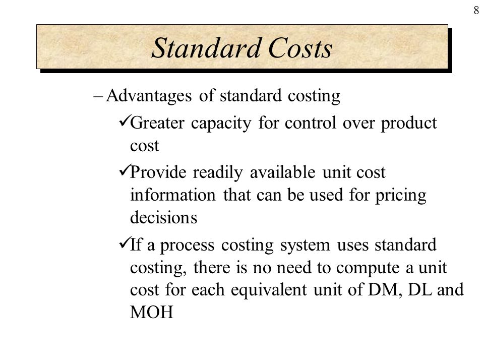 uses of standard costing