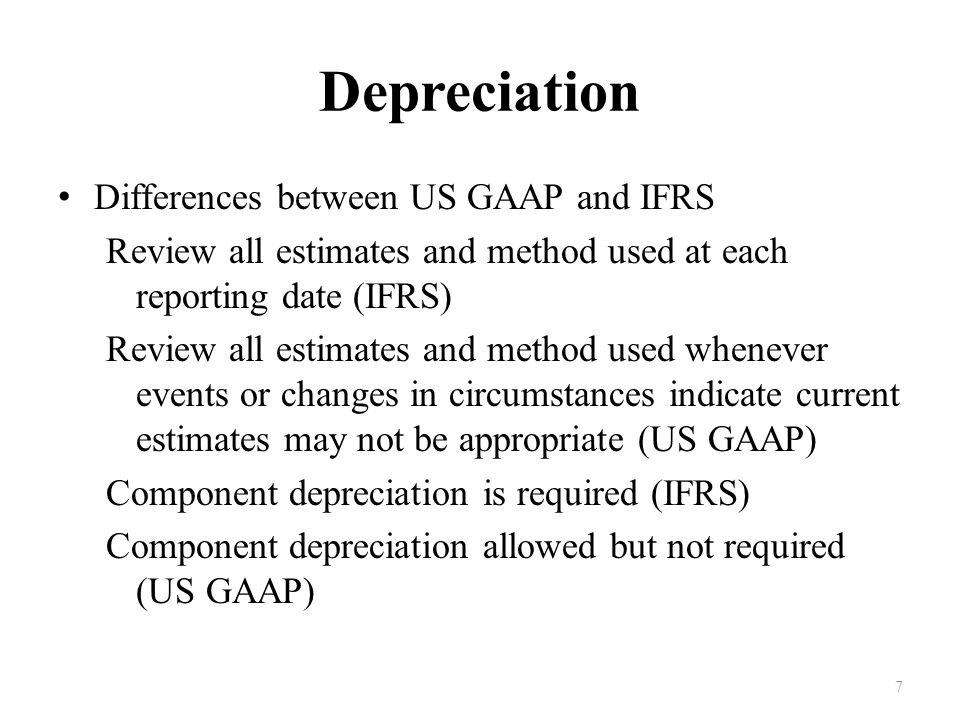 Depreciation Differences between US GAAP and IFRS