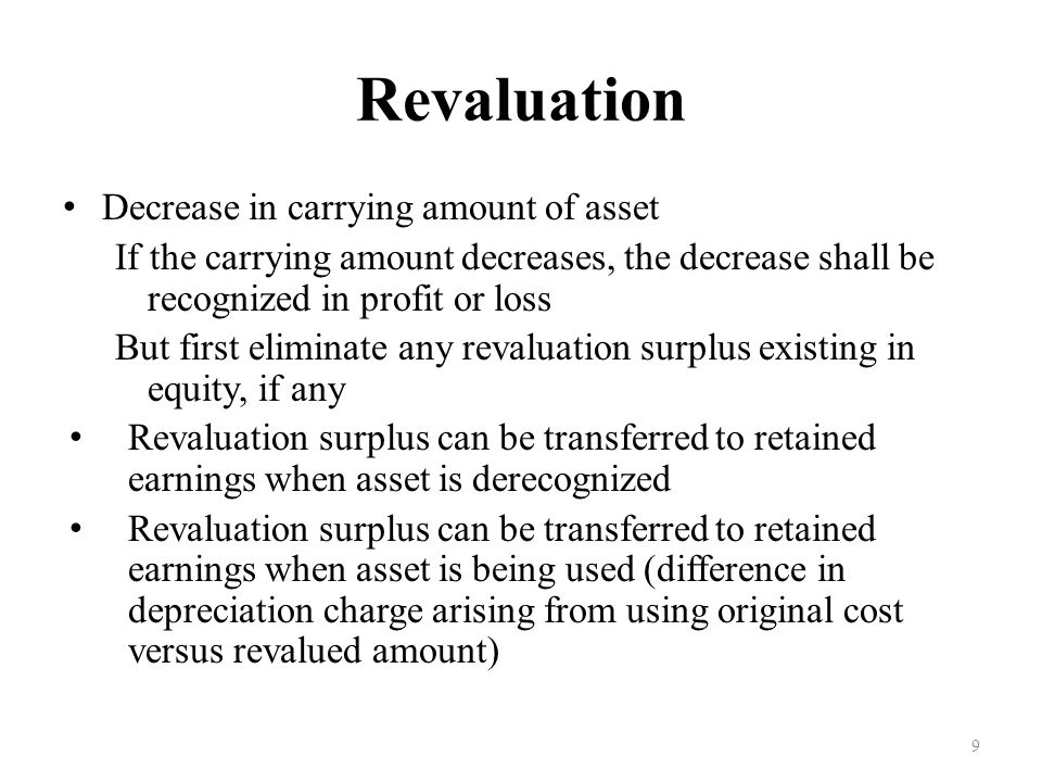 Revaluation Decrease in carrying amount of asset
