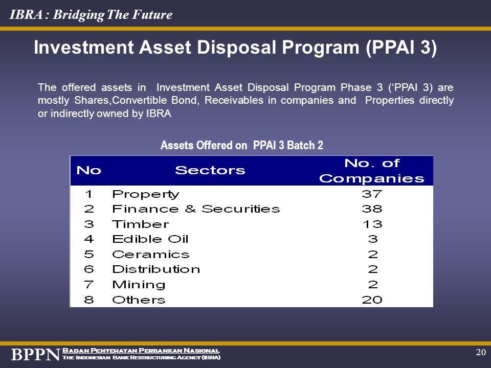 Investment Asset Disposal Program (PPAI 3)