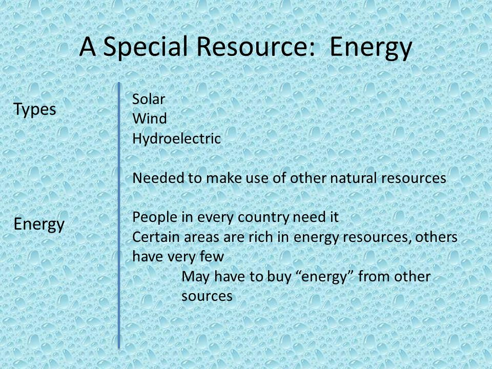 A Special Resource: Energy