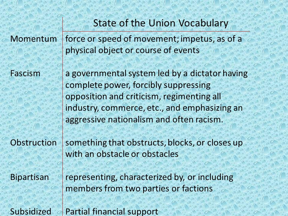 State of the Union Vocabulary