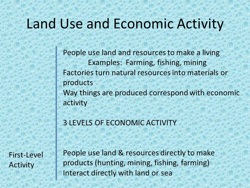 Land Use and Economic Activity