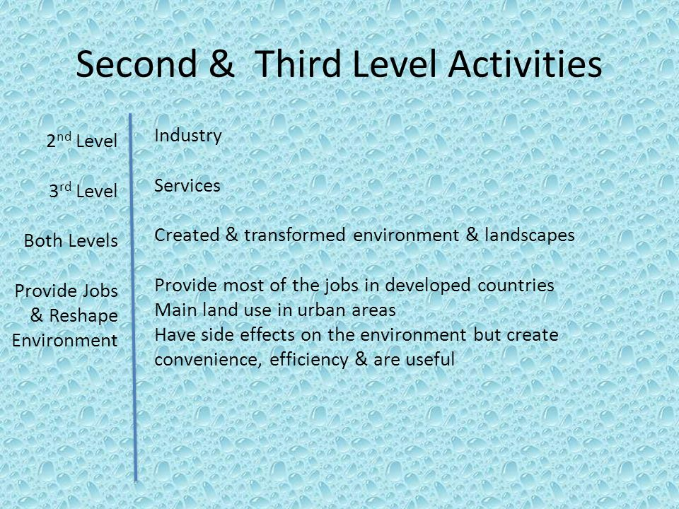Second & Third Level Activities