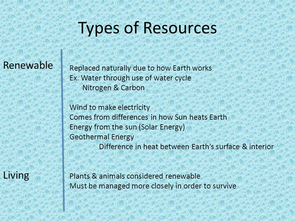 Types of Resources Renewable Living