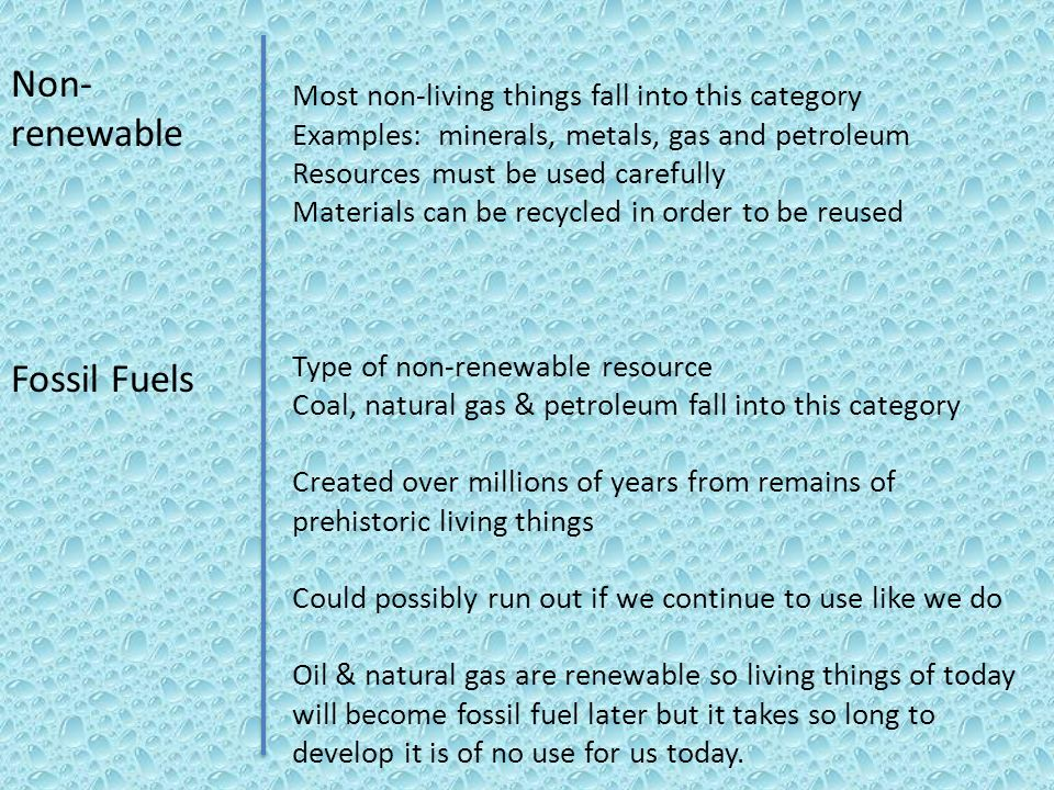 Non-renewable Fossil Fuels