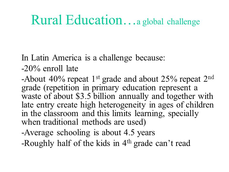 Rural Education…a global challenge