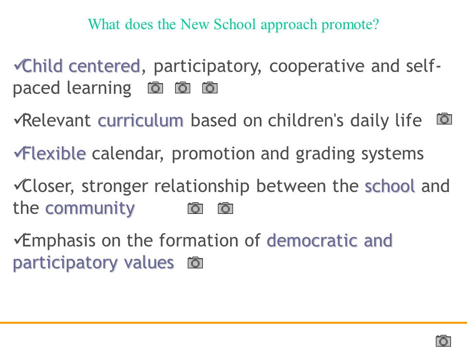 What does the New School approach promote
