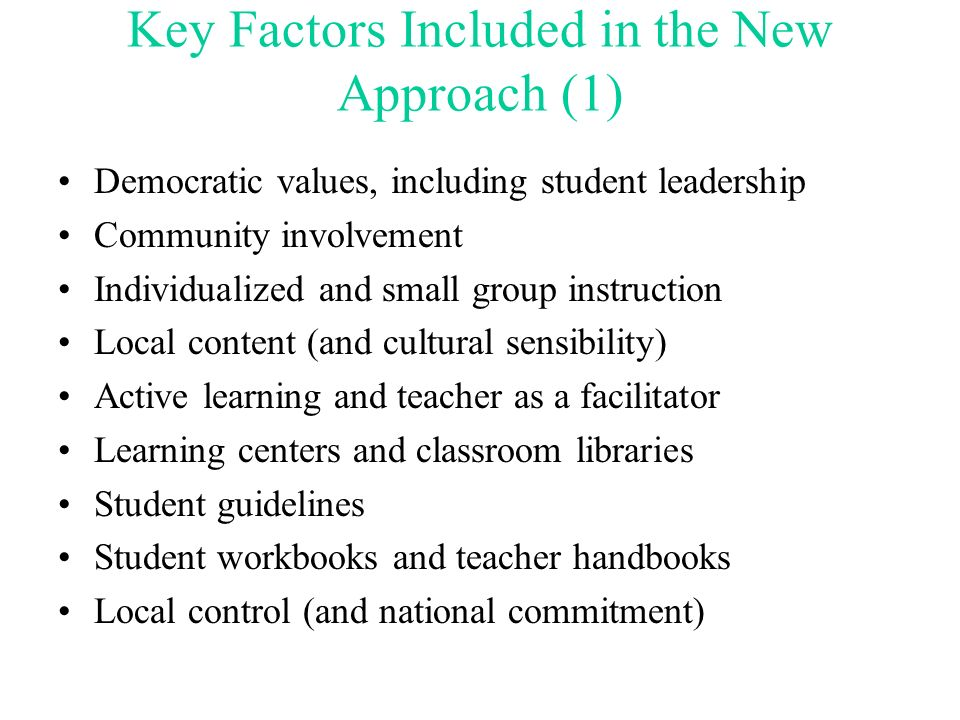 Key Factors Included in the New Approach (1)