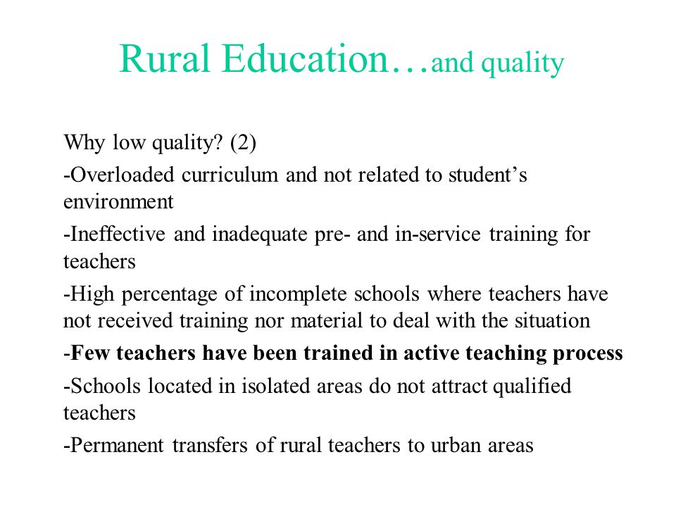 Rural Education…and quality