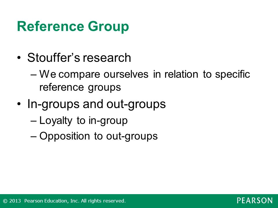 Reference Group Stouffer's research In-groups and out-groups