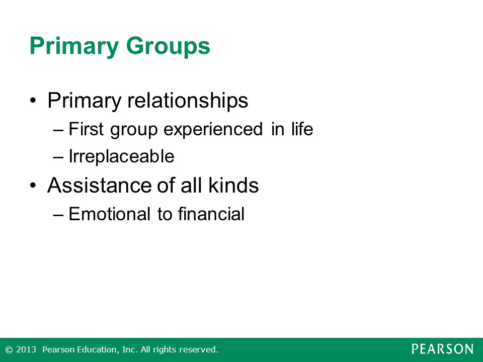 Primary Groups Primary relationships Assistance of all kinds