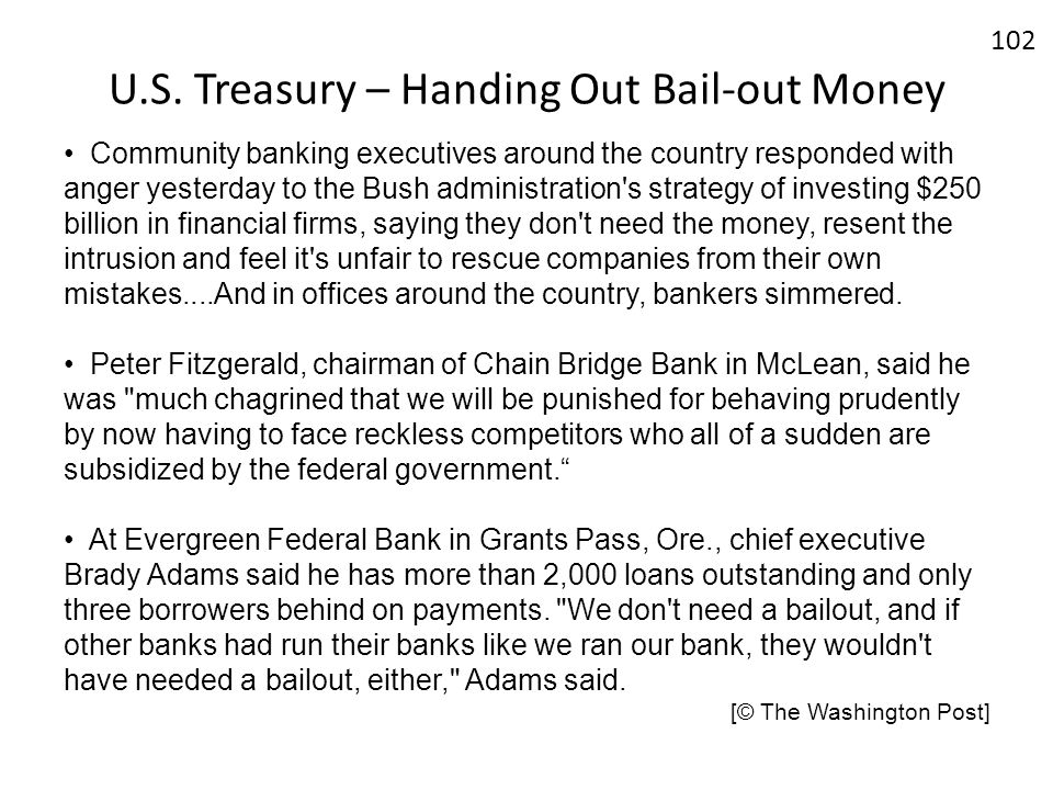 U.S. Treasury – Handing Out Bail-out Money