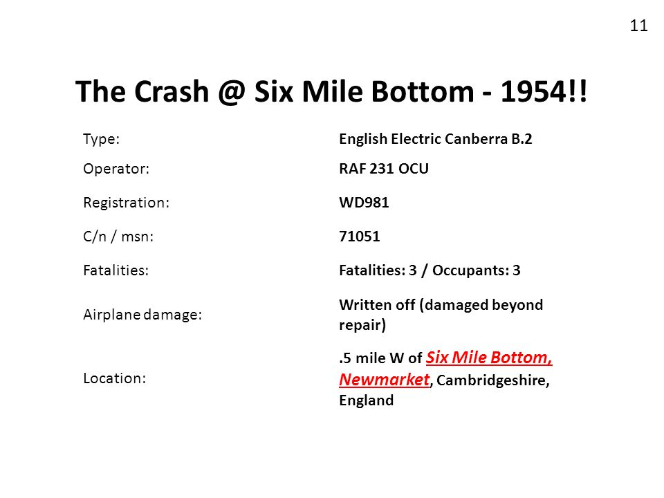 The Crash @ Six Mile Bottom - 1954!!