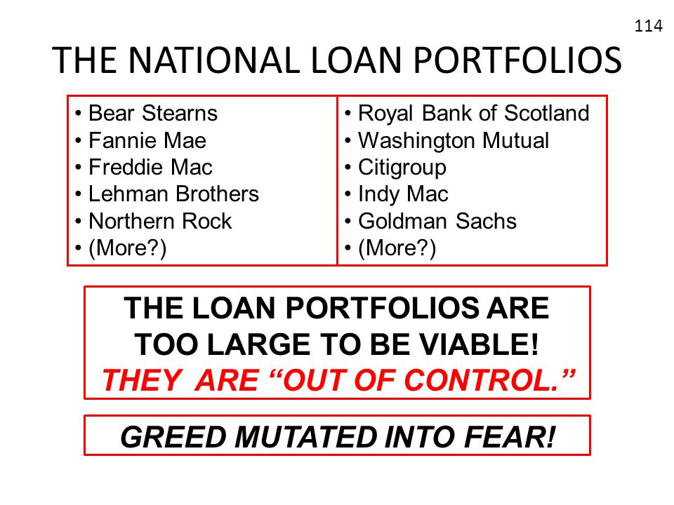 THE NATIONAL LOAN PORTFOLIOS
