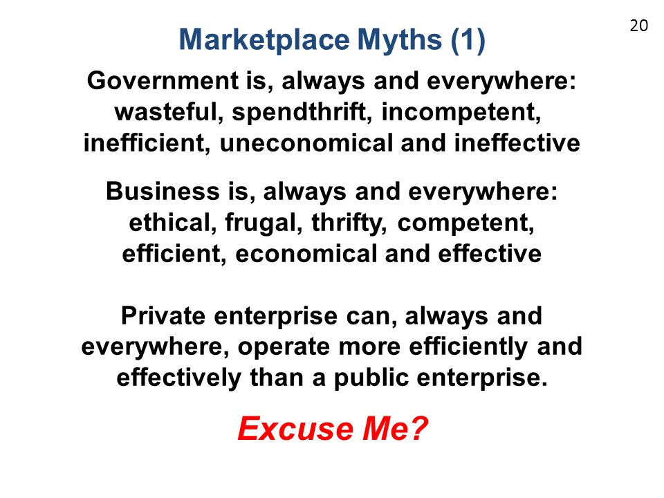 Excuse Me Marketplace Myths (1) Government is, always and everywhere: