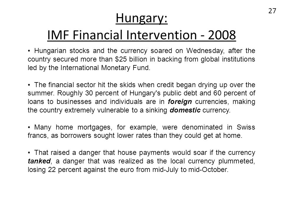 Hungary: IMF Financial Intervention - 2008