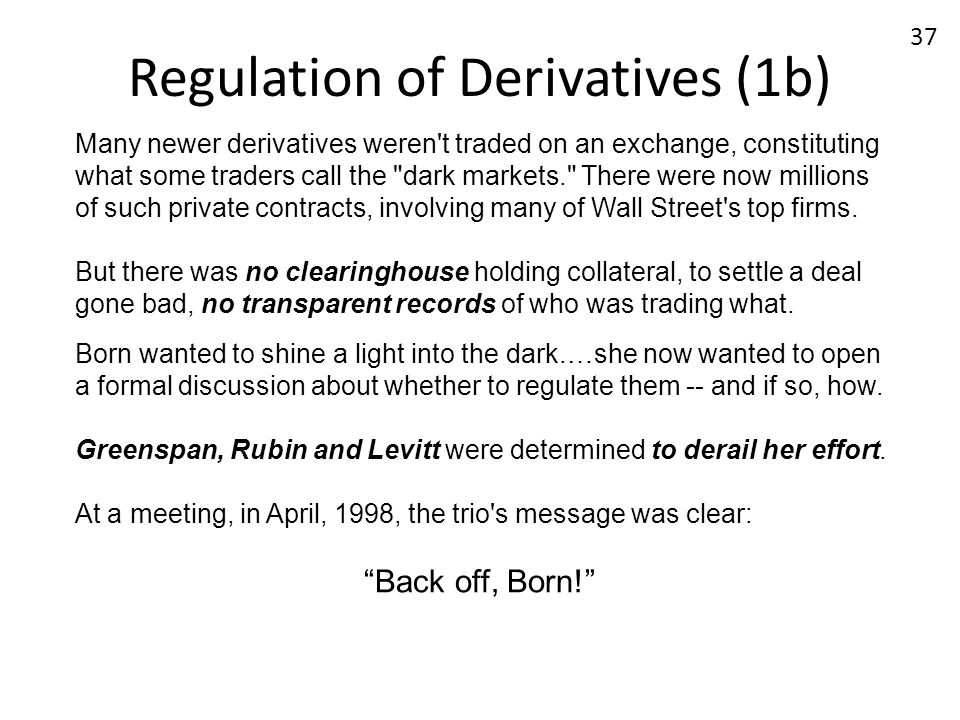 Regulation of Derivatives (1b)