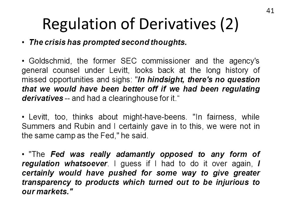 Regulation of Derivatives (2)