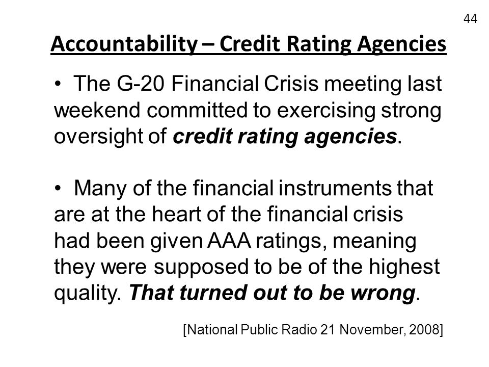 Accountability – Credit Rating Agencies