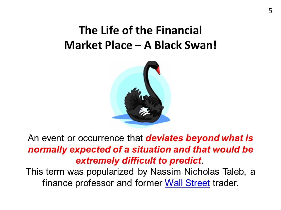 The Life of the Financial Market Place – A Black Swan!