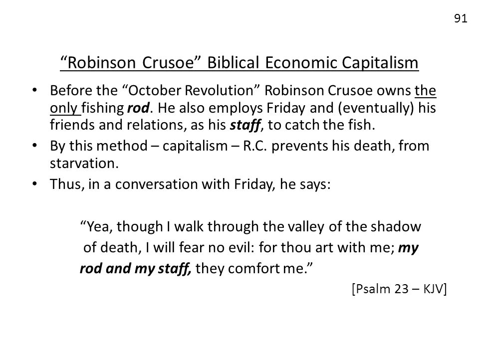 Robinson Crusoe Biblical Economic Capitalism