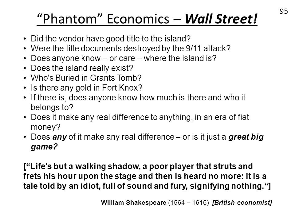 Phantom Economics – Wall Street!