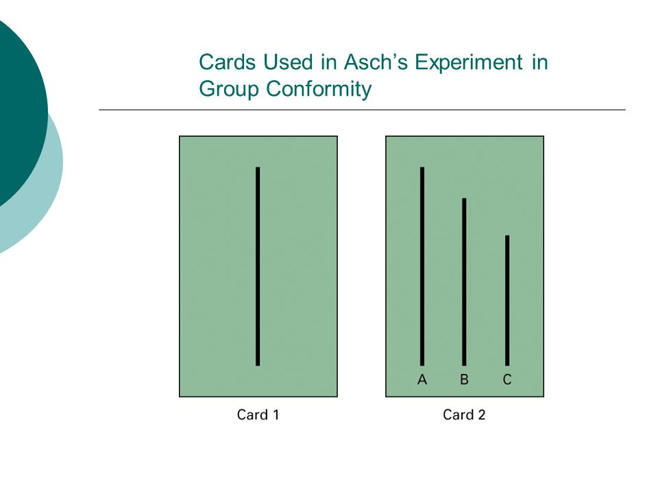 Cards Used in Asch's Experiment in Group Conformity