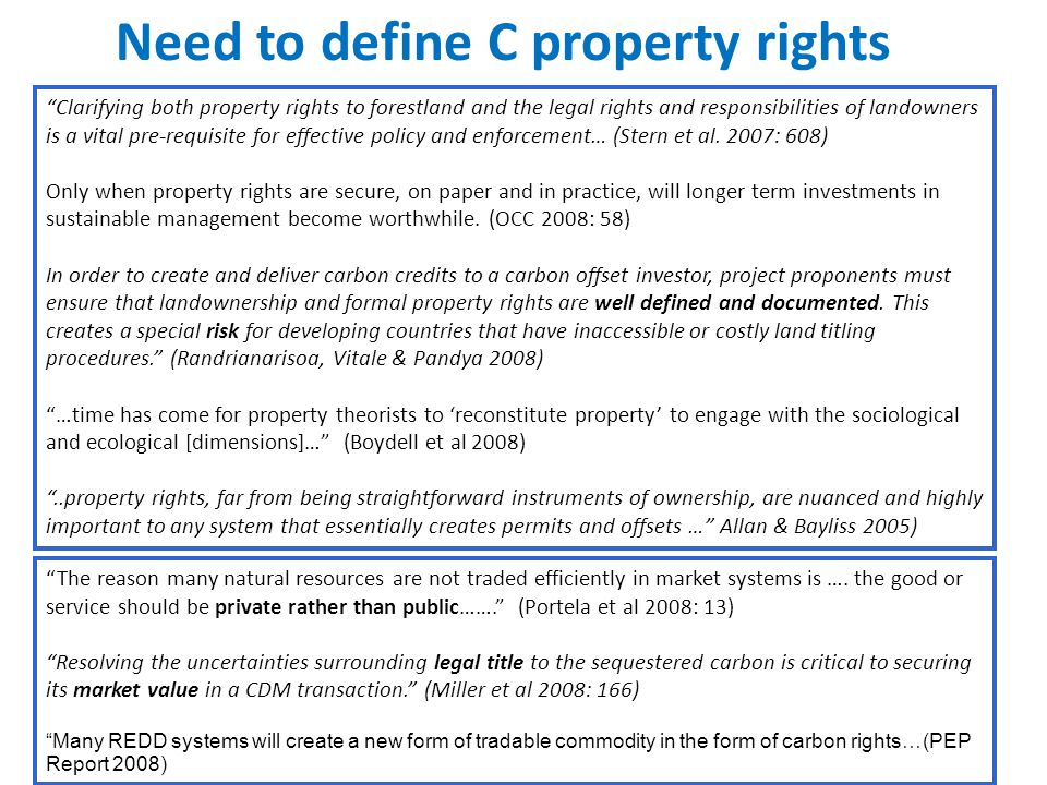 Need to define C property rights