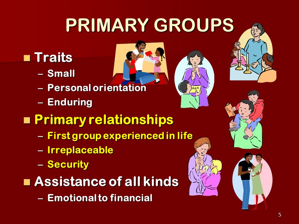 PRIMARY GROUPS Traits Primary relationships Assistance of all kinds