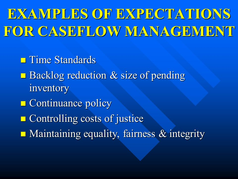EXAMPLES OF EXPECTATIONS FOR CASEFLOW MANAGEMENT
