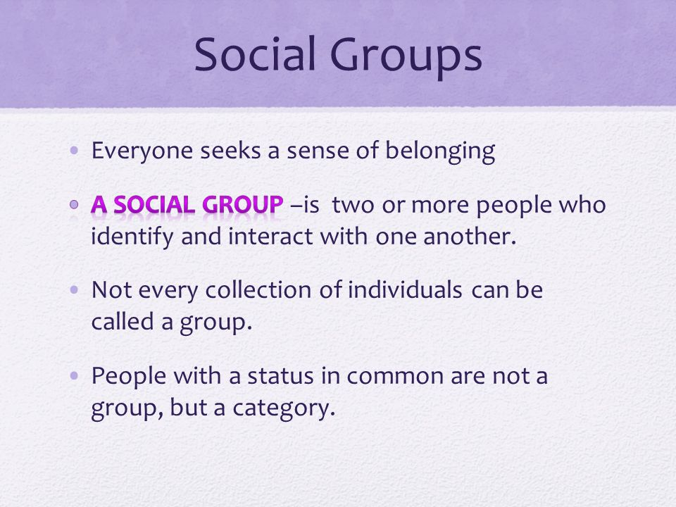 classification of social group