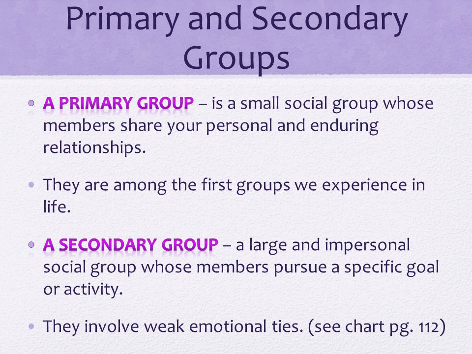 primary and secondary social groups