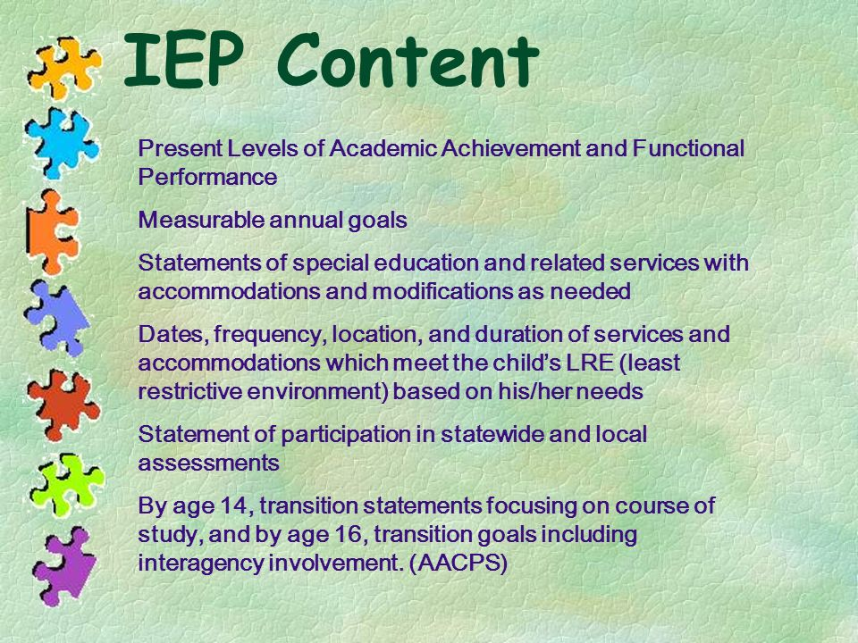 IEP Content Present Levels of Academic Achievement and Functional Performance. Measurable annual goals.