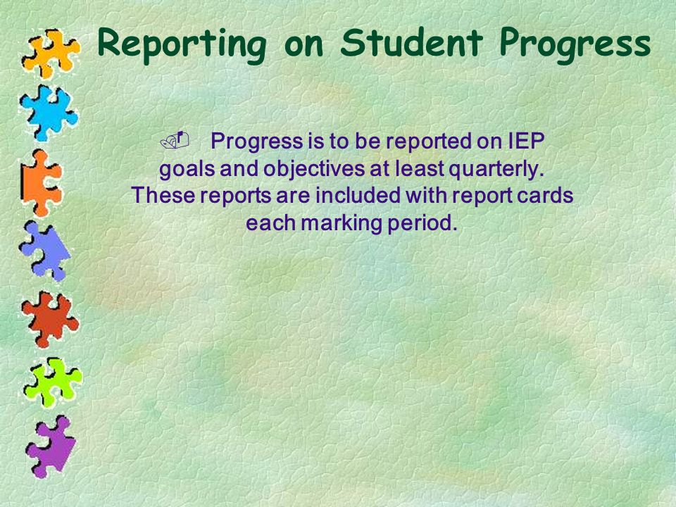 Reporting on Student Progress