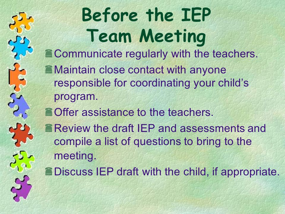 Before the IEP Team Meeting
