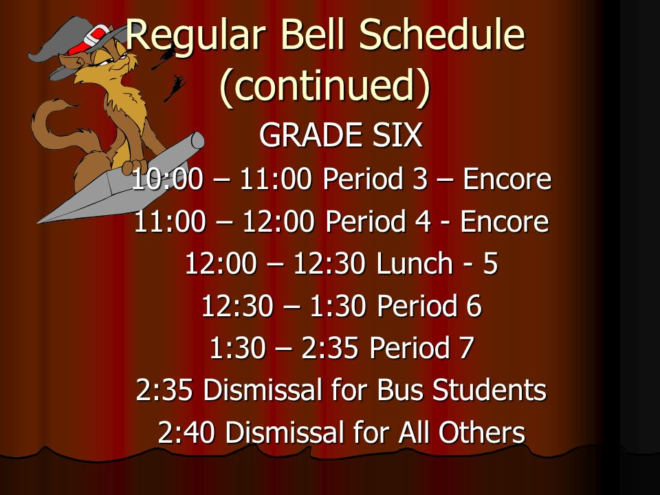 Regular Bell Schedule (continued)