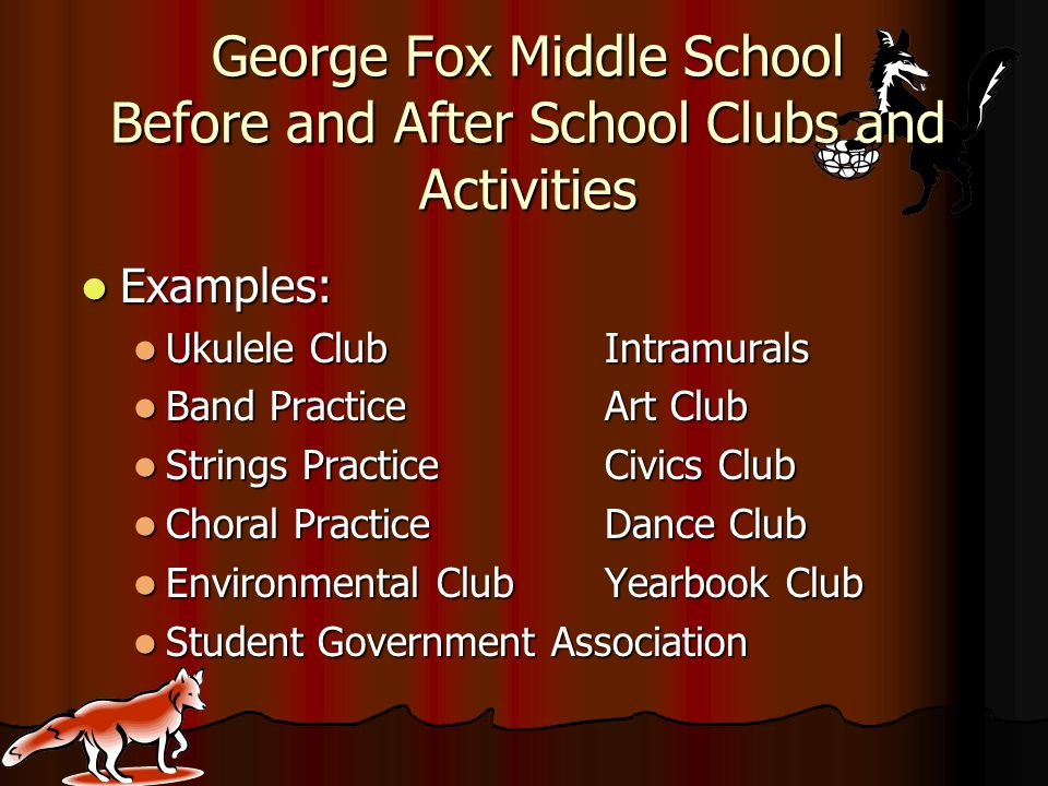 George Fox Middle School Before and After School Clubs and Activities