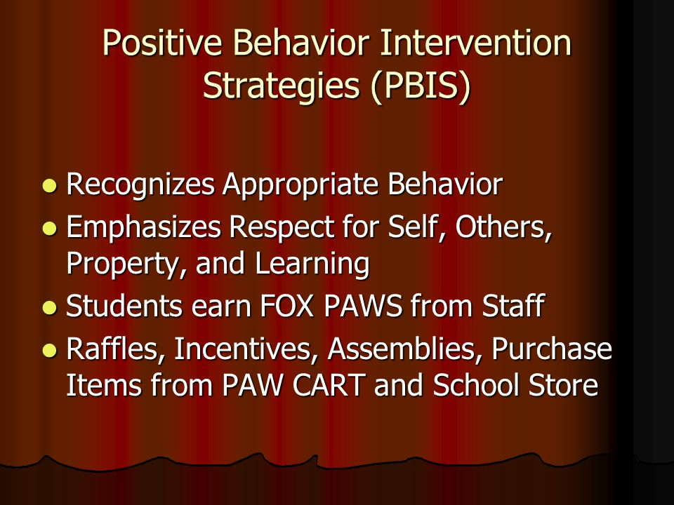 Positive Behavior Intervention Strategies (PBIS)