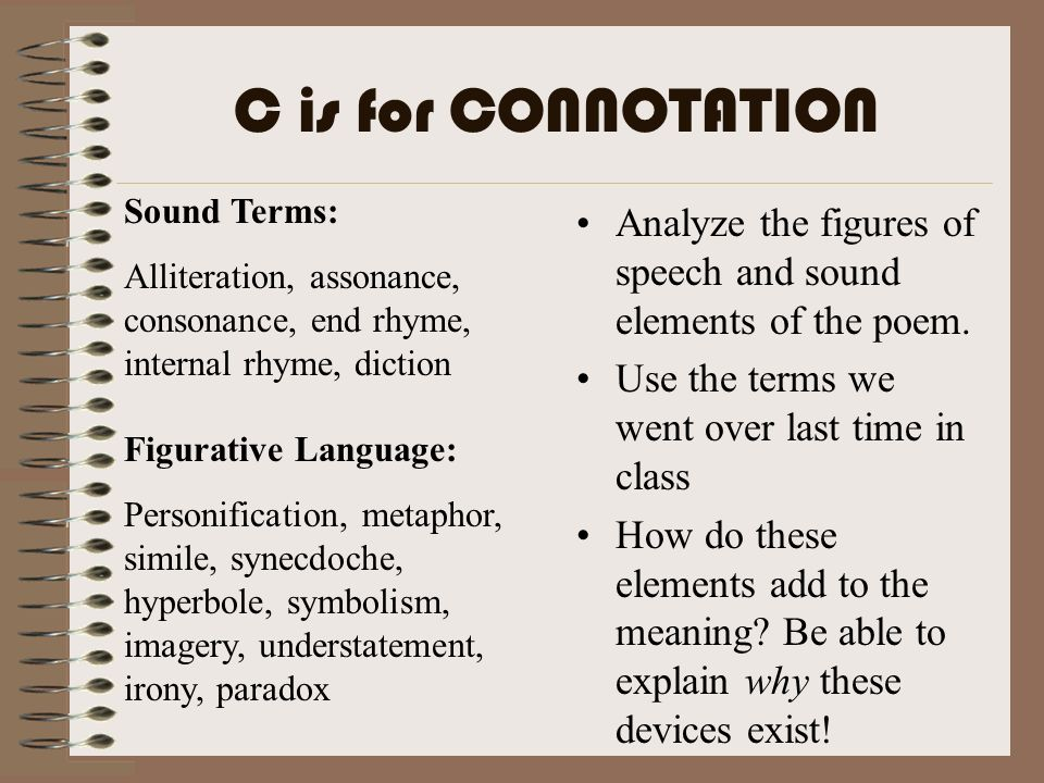 C is for CONNOTATION Sound Terms: Alliteration, assonance, consonance, end rhyme, internal rhyme, diction.