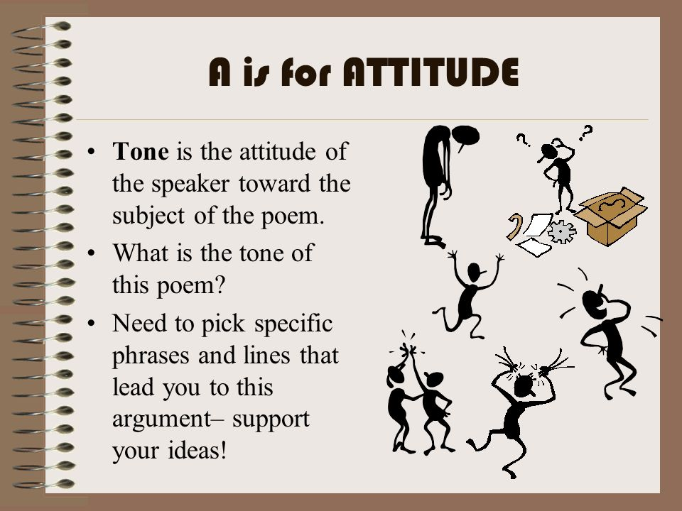 A is for ATTITUDE Tone is the attitude of the speaker toward the subject of the poem. What is the tone of this poem