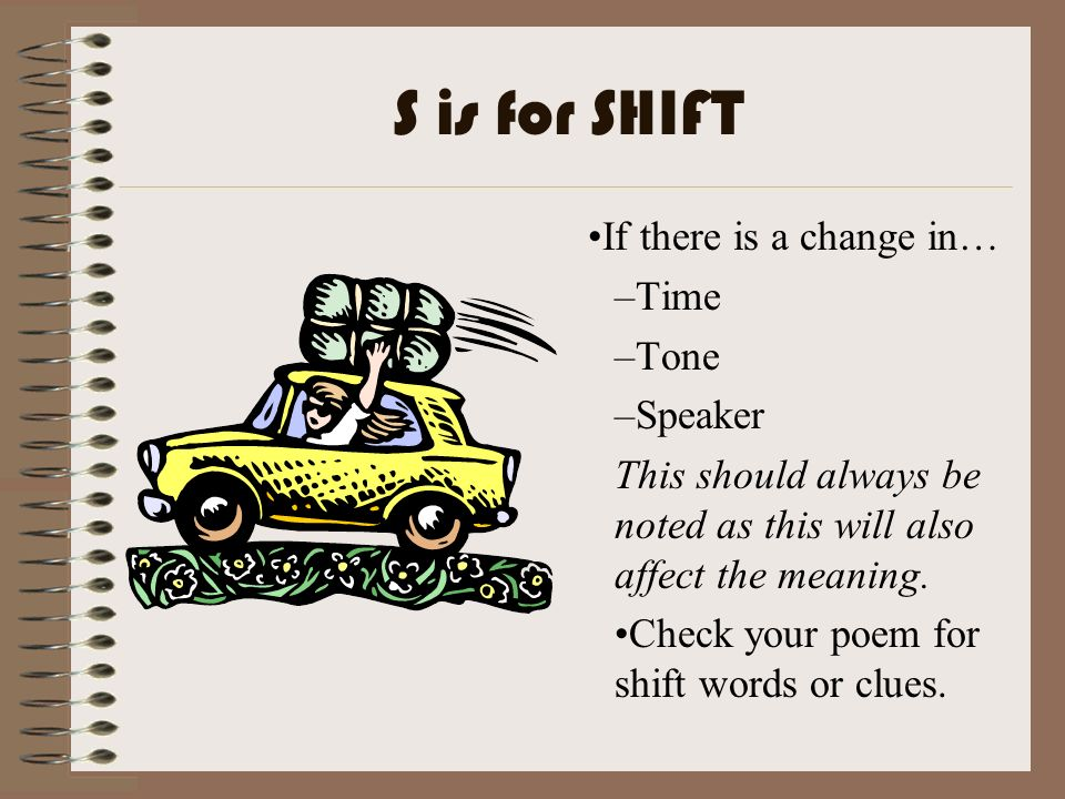 S is for SHIFT If there is a change in… Time Tone Speaker