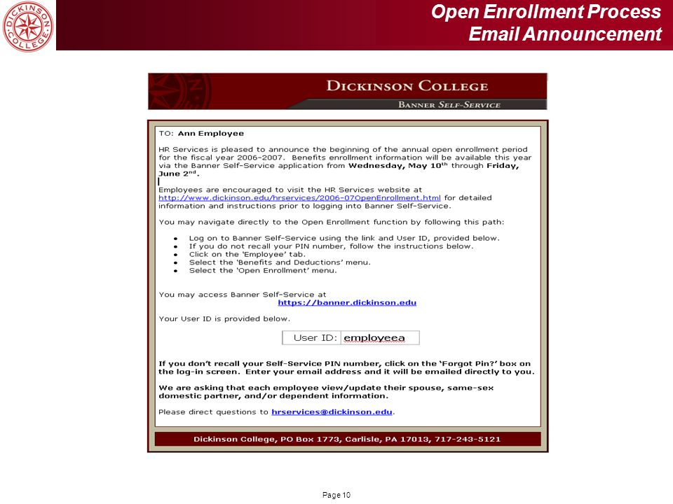 Open Enrollment Process Email Announcement
