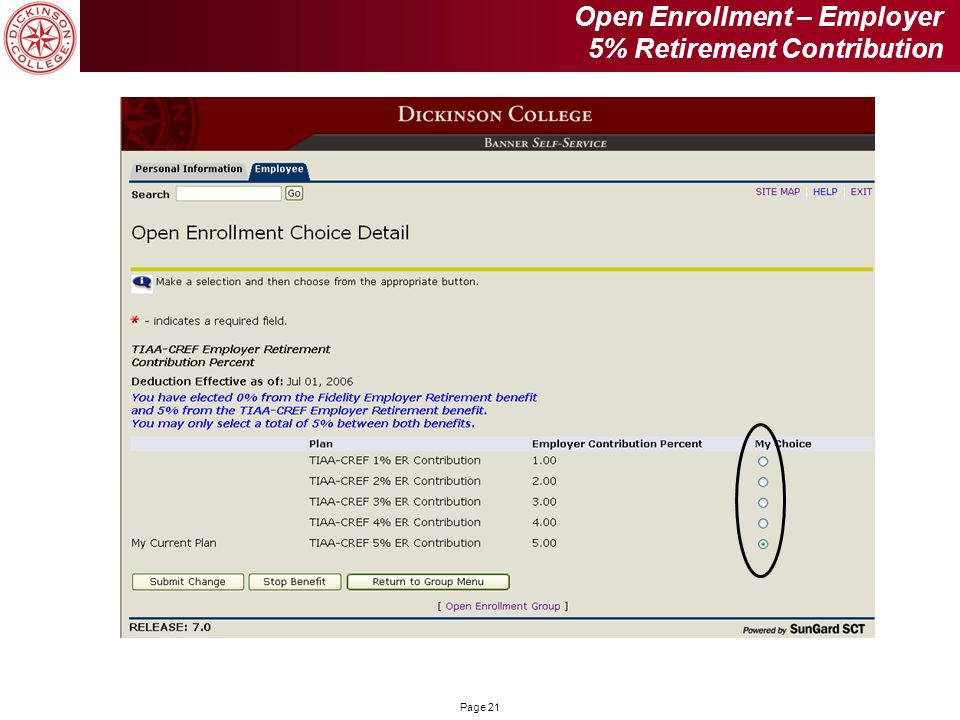 Open Enrollment – Employer 5% Retirement Contribution