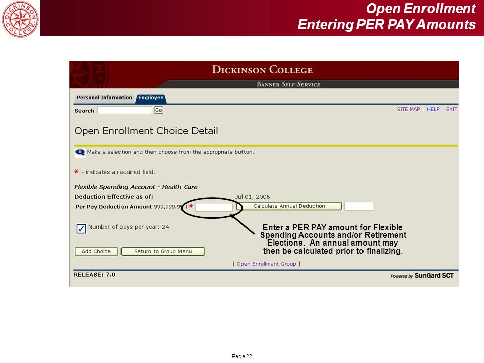 Open Enrollment Entering PER PAY Amounts