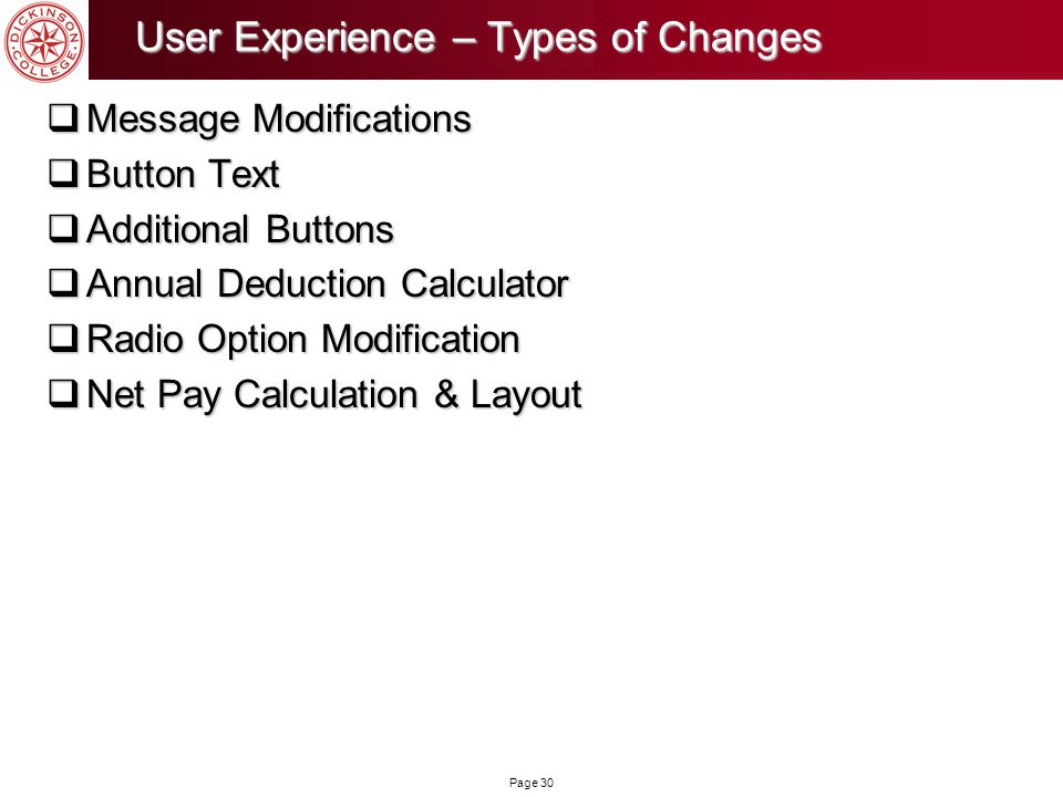 User Experience – Types of Changes