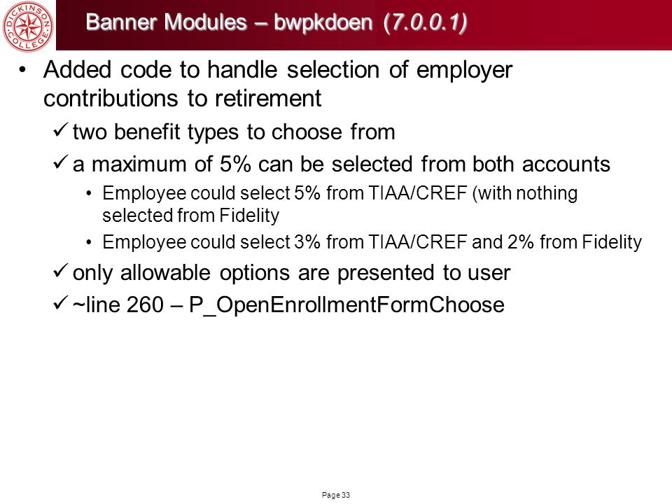 Added code to handle selection of employer contributions to retirement