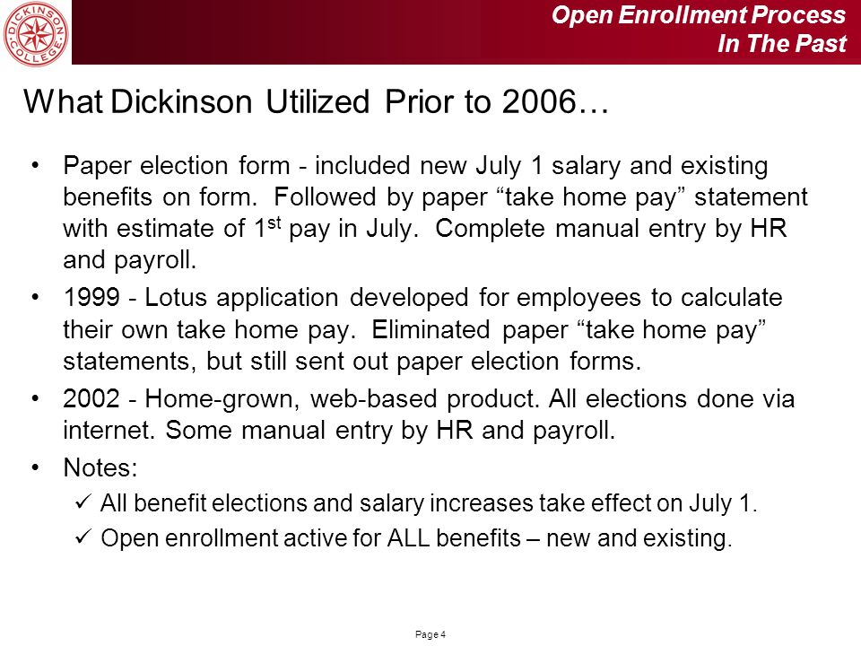 What Dickinson Utilized Prior to 2006…
