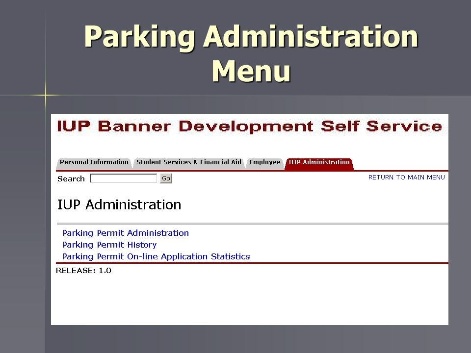 Parking Administration Menu